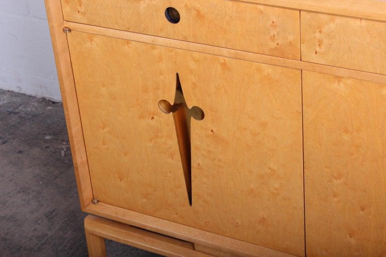 Birdseye Maple Cabinet Designed by Edmund Spence For Sale