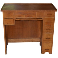 Cabinet Desk of Oak and Maple Used by a Watchmaker, 13 Drawers of Various Sizes