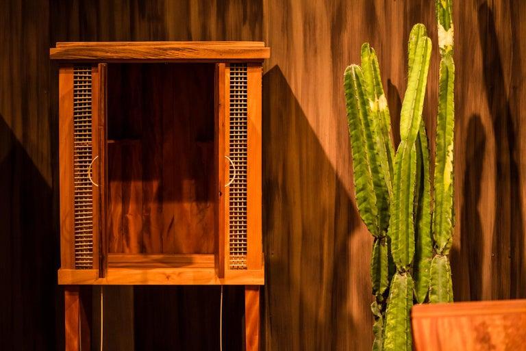 Carved Cabinet in Hardwood, Oratório Nordestino For Sale