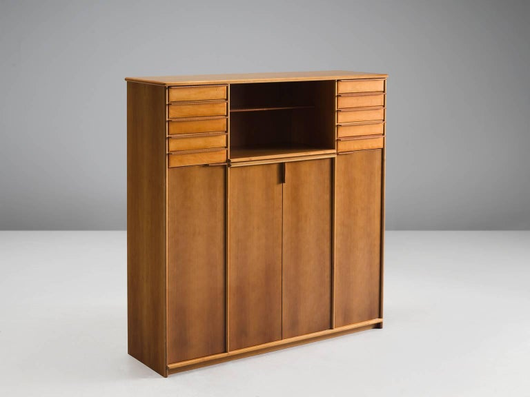 Mid-Century Modern Cabinet in Leather and Italian Walnut For Sale