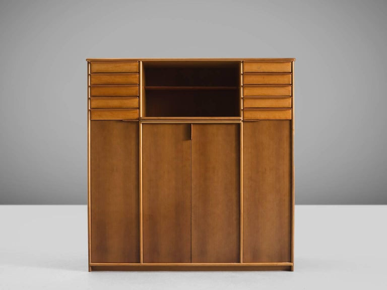 Cabinet in Leather and Italian Walnut In Good Condition For Sale In Waalwijk, NL