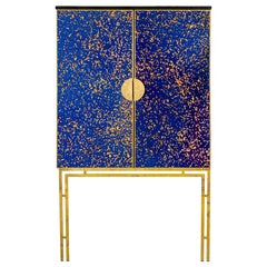 Cabinet in Oxidized Mirror and Gilt Brass, Contemporary Work