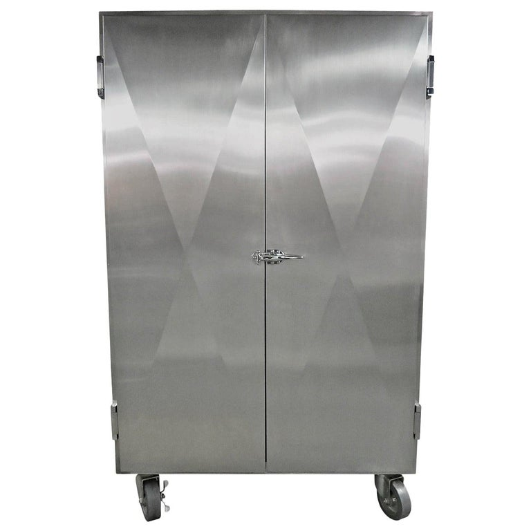 Cabinet in Stainless Steel by Sergio & Monique Savarese of Dialogica, NYC 1990s For Sale