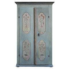 Cabinet Light Blue Painted Wardrobe Dated 1799, Central Europe
