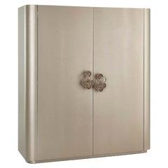 Cabinet Matt Ash Grey Finish Door Pulls Champagne Finish Decorated Micromosaic