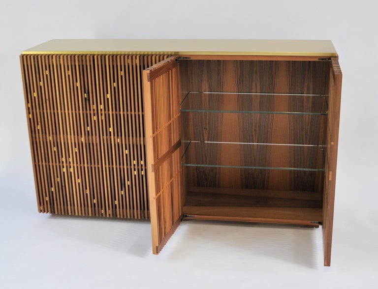 Brushed Contemporary crafted Cabinet, Sideboards  Living room furniture Walnut and Brass For Sale
