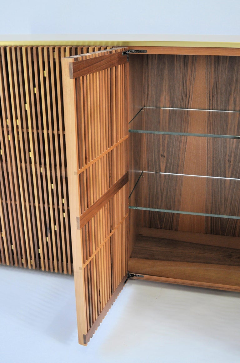 Contemporary crafted Cabinet, Sideboards  Living room furniture Walnut and Brass In New Condition For Sale In Meolo, Venezia