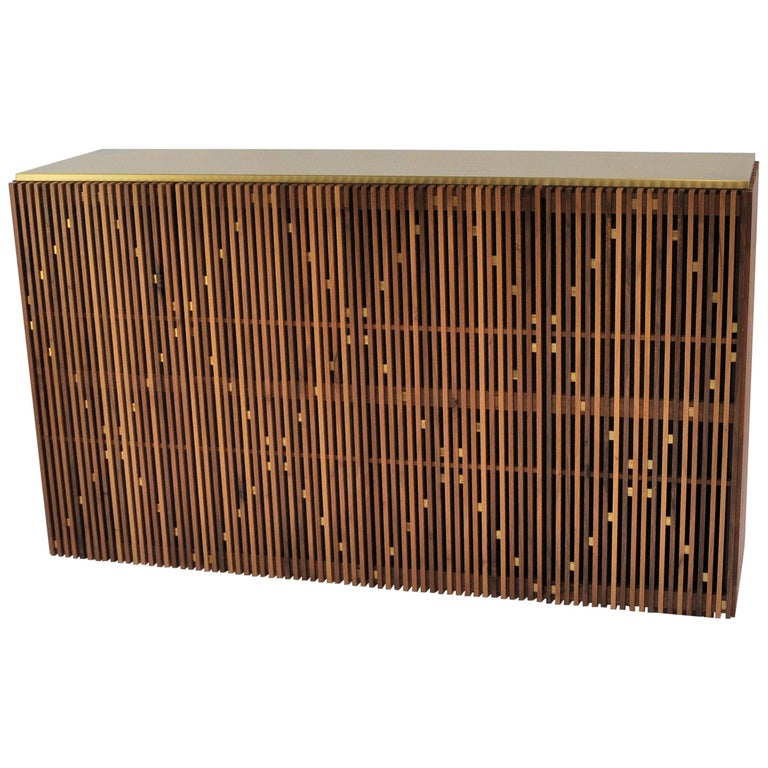 Contemporary crafted Cabinet, Sideboards  Living room furniture Walnut and Brass For Sale