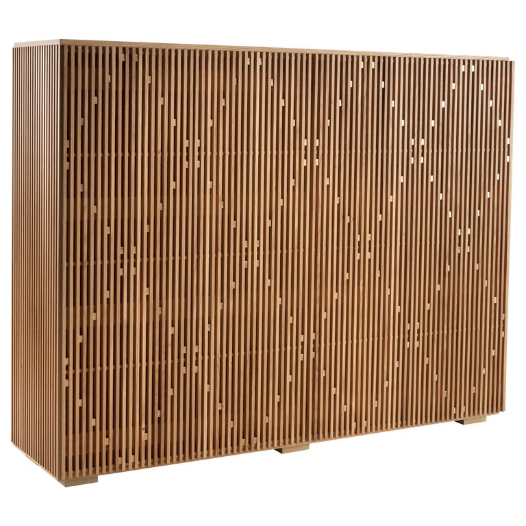 Modern Cabinet Milione by Debonademeo for Medulum, Wood and Brass, Covered in Brass For Sale