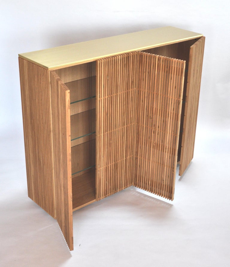 Contemporary Cabinet Milione by Debonademeo for Medulum, Wood and Brass, Covered in Brass For Sale