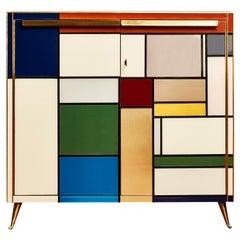 "Cabinet ""Mondrian Tribute"" in Tainted Glass by Studio Glustin"