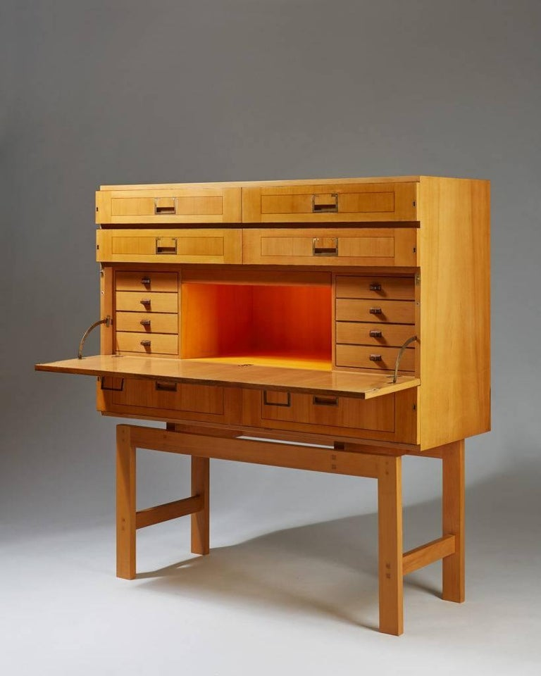 Swedish Cabinet on Stand, Anonymous, Sweden, 1950s For Sale
