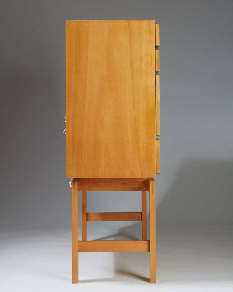 Cherry Cabinet on Stand, Anonymous, Sweden, 1950s For Sale