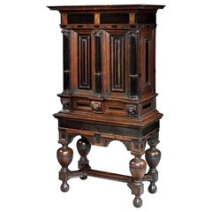 Cabinet on Stand Dutch Renaissance Oak Ebonised Secret Locking Mechanism Key
