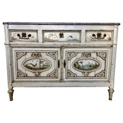 Cabinet or Commode with Marble Top, 18th Century with Hand Painted Bird Details