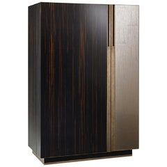 Cabinet Polished Ebony & Vetrite Antique Bronze Finish Matt Lacquer Interior Led