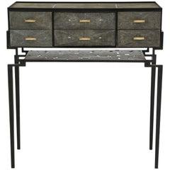 Cabinet, Shagreen with Bronze Details, Antique Black Color