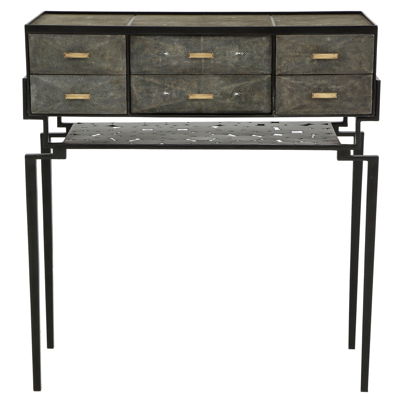 Cabinet, Shagreen with Bronze Details, Metal Base, Designed in France