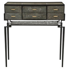 Cabinet, Shagreen with Bronze Details, Metal Base