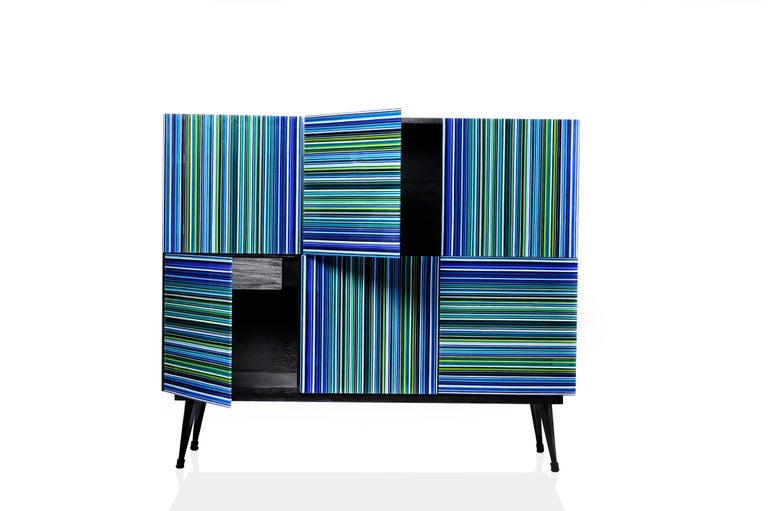 Cabinet designed by Orfeo Quagliata in collaboration with Taracea Furniture. An object of fused glass created with the exclusive barcode technique. The cabinet's simple and retro design mixed with designer's exceptional glass expertise put together