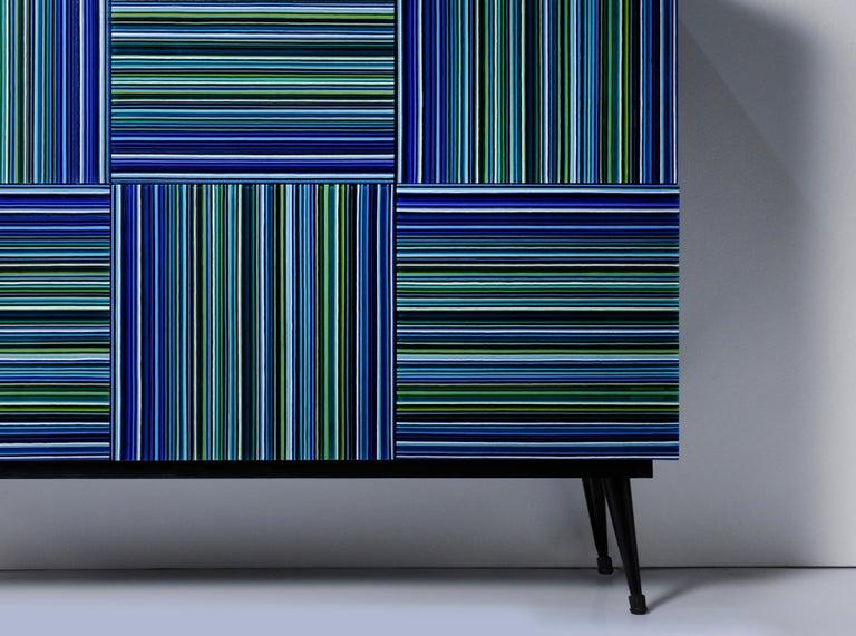 Modern Cabinet Striped Multi-Color Glass Doors by Orfeo Quagliata For Sale