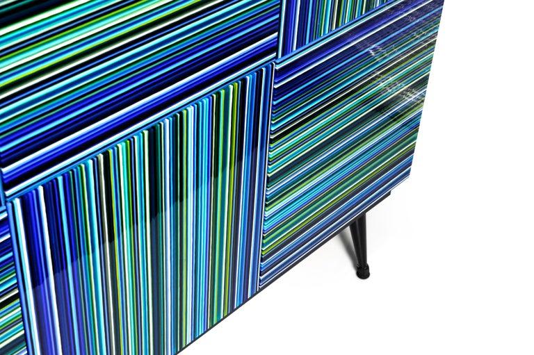 Mexican Cabinet Striped Multi-Color Glass Doors by Orfeo Quagliata For Sale