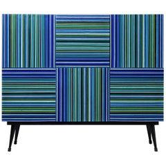 Cabinet Striped Multi-Color Glass Doors by Orfeo Quagliata
