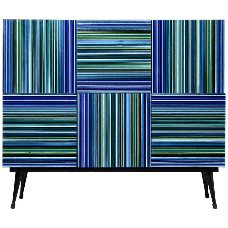 Cabinet Striped Multi-Color Glass Doors by Orfeo Quagliata For Sale
