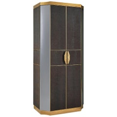Cabinet Structure Antique Bronze Finish Side Upholstery with Leather Mirror Led