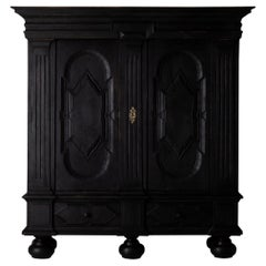 Cabinet Swedish Black Baroque 18th Century Sweden