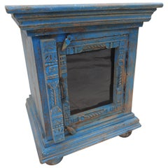 Cabinet Turquoise Painted with Glass Door