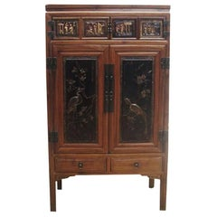 Cabinet with Two Panel Doors Carved with Crane and Phoenix