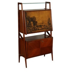 Cabinet with Bar Compartment Mahogany Veneer Vintage Italy, 1950s