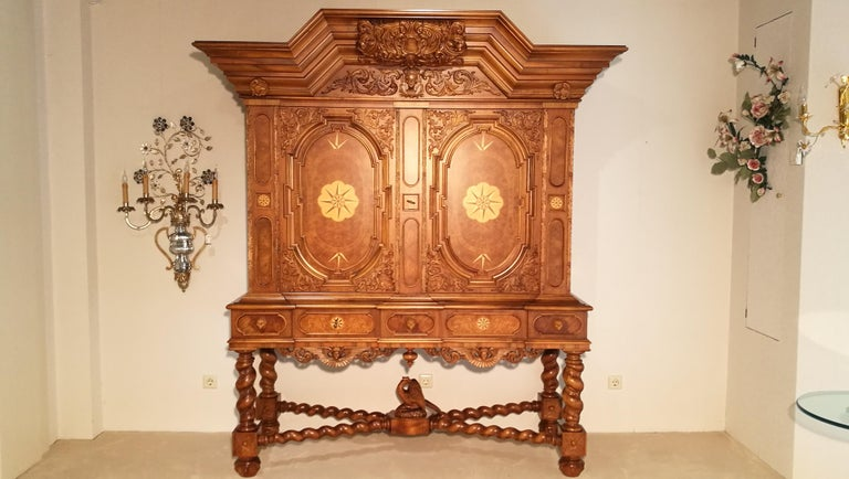 Beautiful massive reproduction cabinet of the Renaissance period. This facade cabinet is called