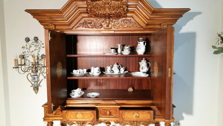 Walnut Cabinet with Hinged Doors and Wonderful Ornamentations For Sale