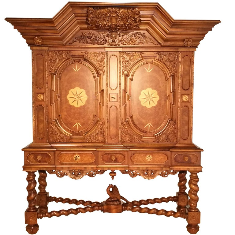 Cabinet with Hinged Doors and Wonderful Ornamentations For Sale