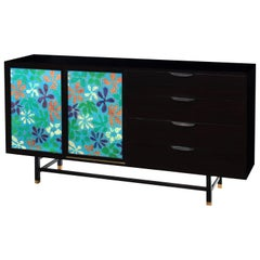Cabinet with Stunning Jewelry Enamel Doors by Harvey Probber, 1950s 'Signed'