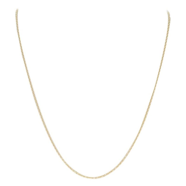 Cable Chain Necklace, 18 Karat Yellow Gold Lobster Claw Clasp, Italy For Sale