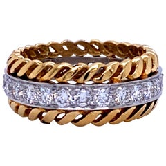 Cable Diamond Wedding Band 18 Karat Yellow Gold and Platinum 1.31 Carat