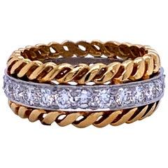 Cable Diamond Wedding Band 18 Karat Yellow Gold and Platinum 1.31 Carat