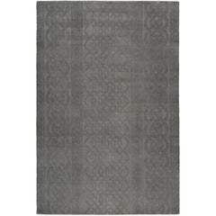 Cable Knit Grey Hand-Knotted 10x8 Rug in Wool by Thom Browne