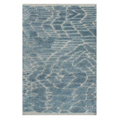 Cabo Ocean Blue and Cream Hand-Knotted Wool Rug