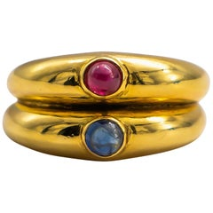 Cabochon 0.2 Carat Ruby and Cabochon 0.2 Carat Sapphire Ring 18K Yellow Gold