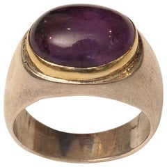 Cabochon Amethyst 18 Karat Gold and Sterling Silver Ring