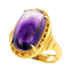 Cabochon Amethyst 21 Karat Yellow Gold Ring