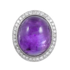 Cabochon Amethyst and Diamond Dome Ring