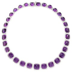 Cabochon Amethyst and Diamond Halo Necklace in 18 Karat White Gold