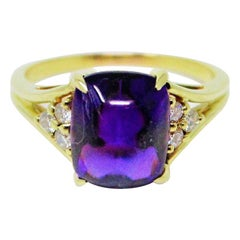 Cabochon Amethyst and Diamond Ring in 18 Karat Gold
