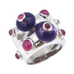 Cabochon Amethyst and Ruby 18 Karat White Gold Double Convex Ring