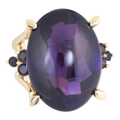 Cabochon Amethyst Cocktail Ring Vintage 18 Karat Yellow Gold Large Oval Jewelry
